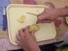 Oles cutting bird fries